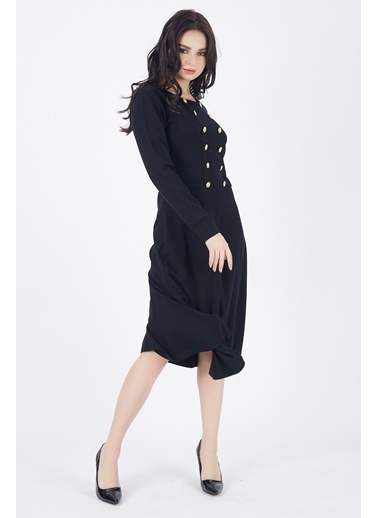 Sense Sense  Elbise Ön Çift Sıra Metal Düğmeli Uzun Elbise  Elb  Siyah